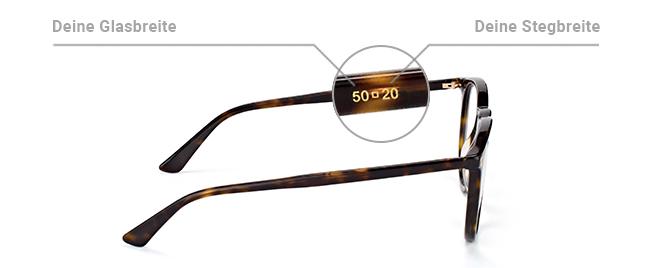 Kastenmaß auf Brille