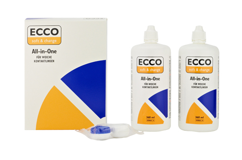 Ecco All-in-one 2x 360ml +1x Contactlenshouder front view