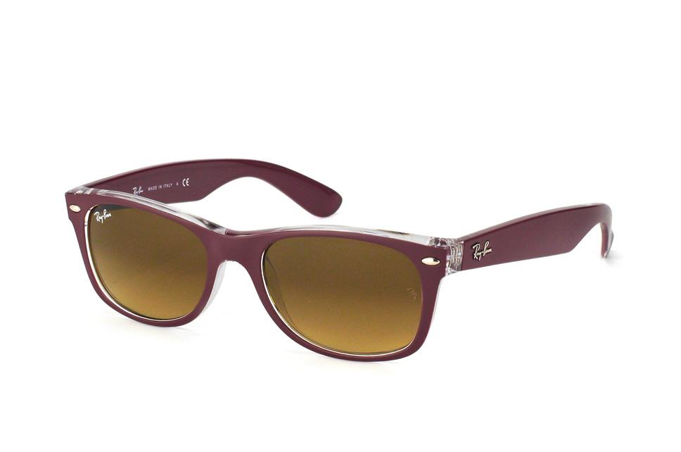 Ray-Ban RB2132 605485 - New Wayfarer (Color Mix) - zonnebril - Bordeaux-Transparant / Bruin Gradint - 52mm