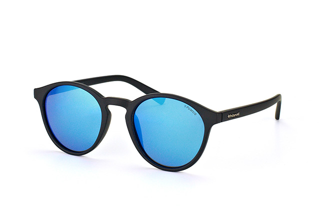 POLAROID Polarized Round Sunglasses Matte Black Blue Mirror PLD6013 DL5