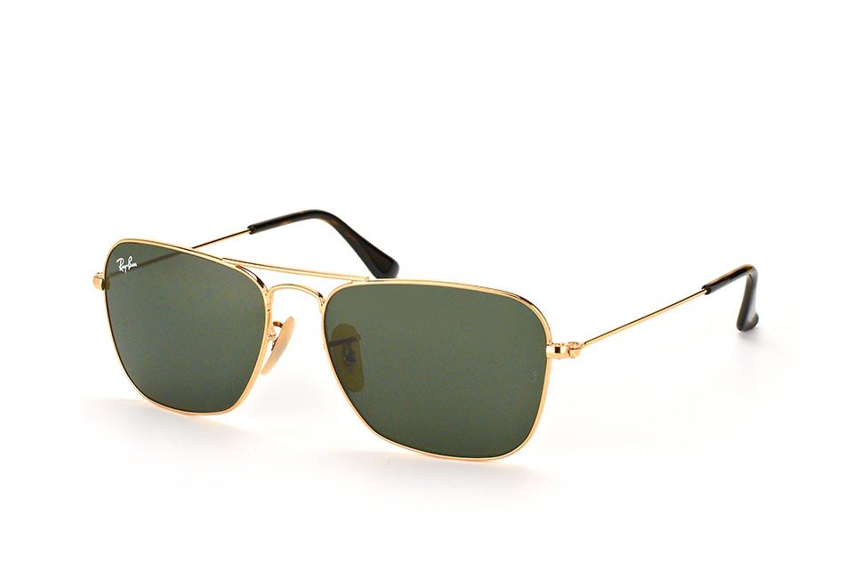 Ray-Ban RB3136 181 - Caravan - zonnebril - Goud / Groen Klassiek G-15 - 55mm