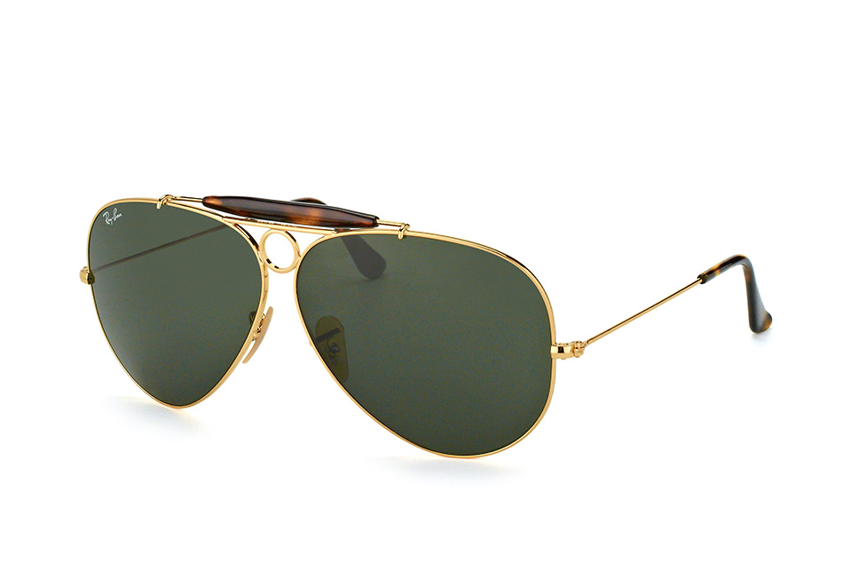Ray-Ban RB3138 181 - Shooter (Havanna) - zonnebril - Goud / Groen Klassiek G-15 - 62mm