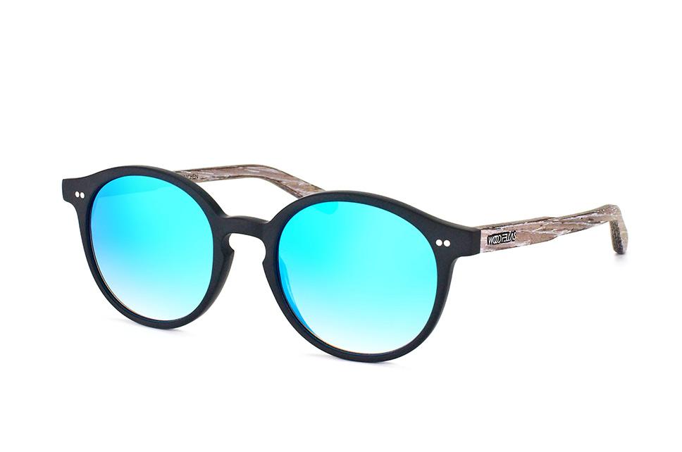 Solln 10763 black/mirr.blue, Round Sonnenbrillen, Schwarz