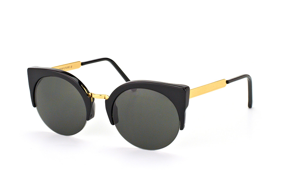 Super by Retrosuperfuture Lucia Francis Black Gold 340/r, Browline Sonnenbrillen, Schwarz