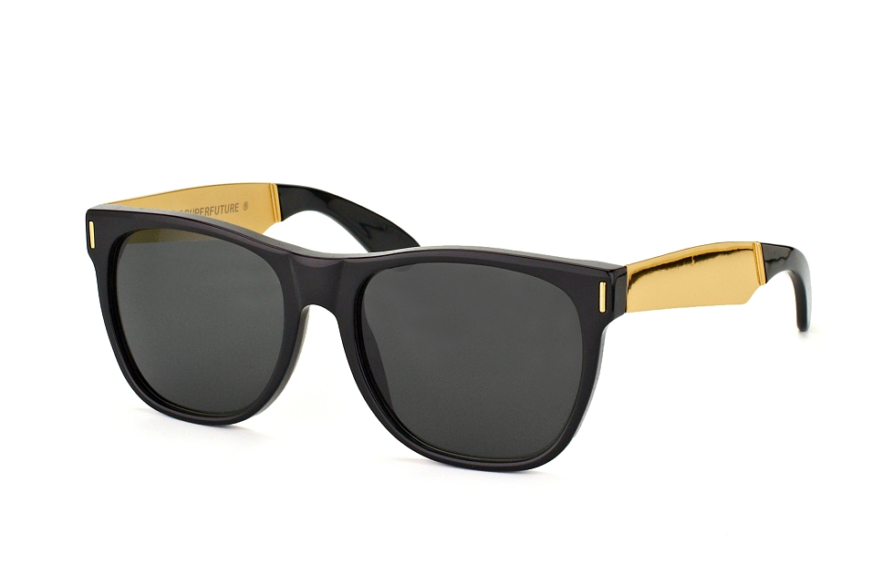 Super by Retrosuperfuture Classic Francis Black Gold 202, Square Sonnenbrillen, Schwarz