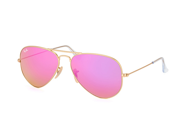 Ray Ban Ray-Ban Sonnenbrille »aviator Large Metal Rb3025«, Goldfarben, 112/4t - Gold/rosa