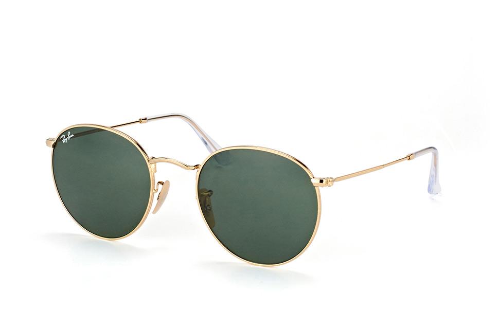 Ray-Ban RB3447 001 - Round Metal - zonnebril - Goud / Groen Klassiek G-15 - 53mm