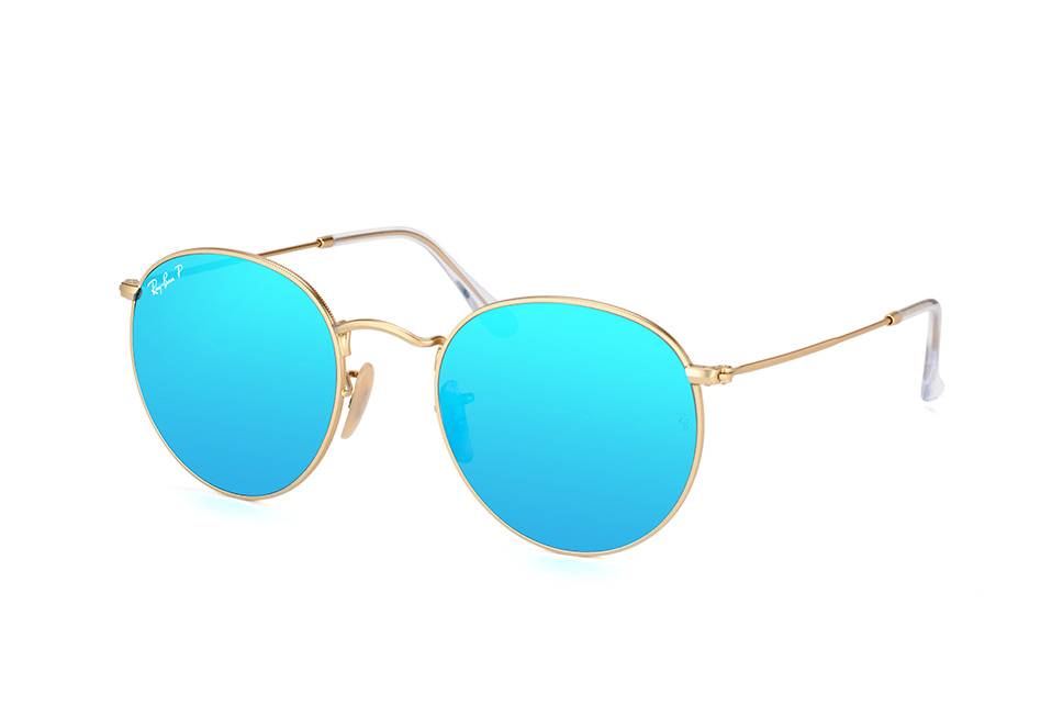 Ray-Ban RB3447 112/4L - zonnebril - Round Metal - Matte Gold/Blue Flash - Polarized - 53mm