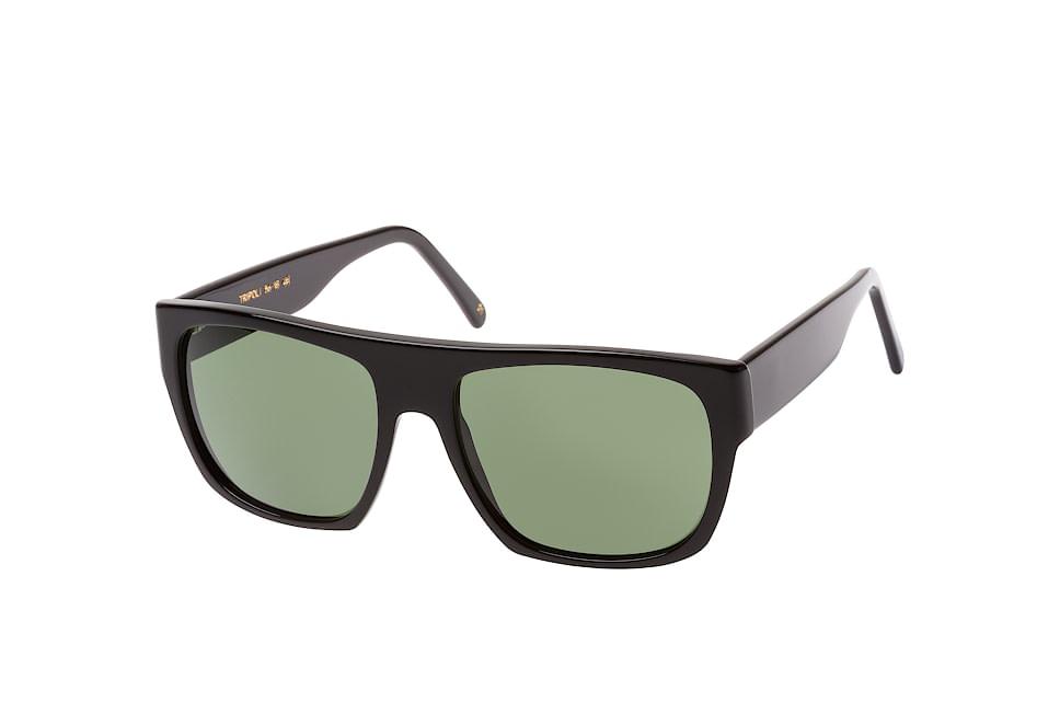 L.g.r oli 01 blk.-green, Square Sonnenbrillen, Schwarz